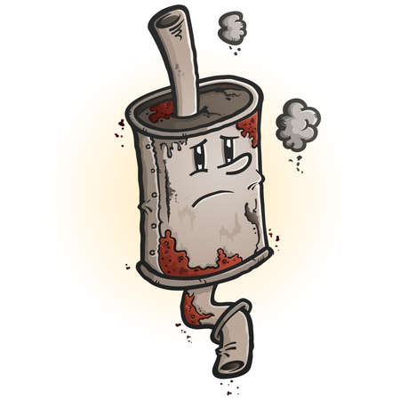 Illustration for A drawing of an old scrap rusted car muffler cartoon character with a melancholy face - Royalty Free Image