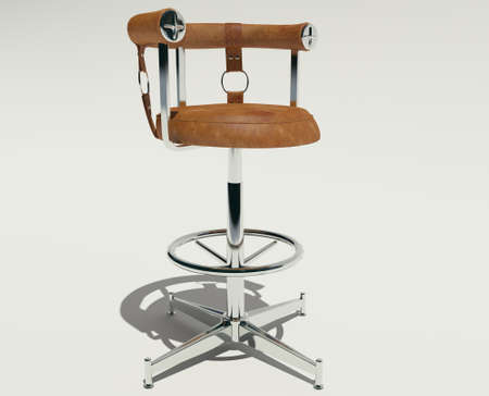 3d rendering of high bar chair with armrests