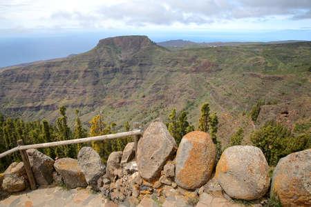 LA GOMERA, SPAIN: View of Fortaleza mountain and Barranco de Ergue from the Mirador de Igualero