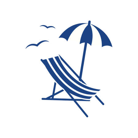 Beach parasol and lounge chair