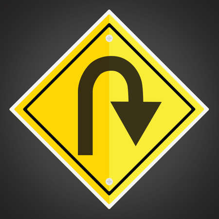 Right hairpin curve sign
