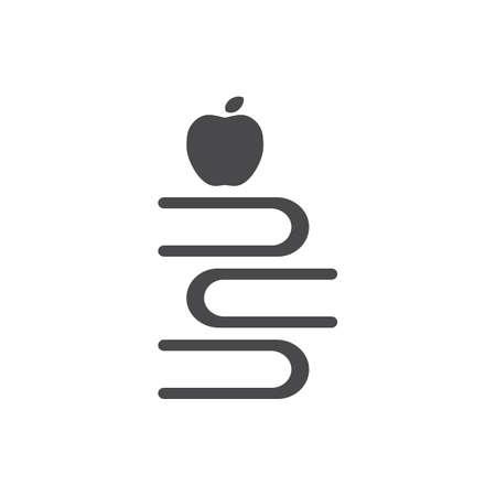 Illustration pour apple with stack of books - image libre de droit