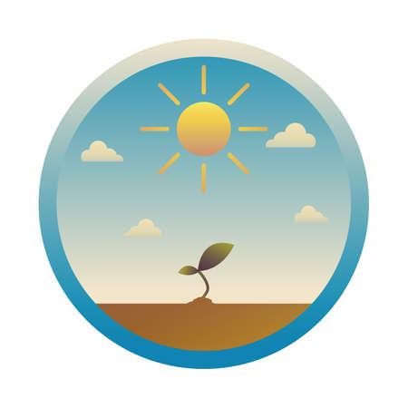 Illustration pour sun and sapling - image libre de droit