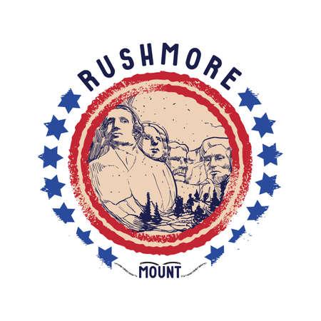 Illustration pour grunge rubber stamp of rushmore mount - image libre de droit