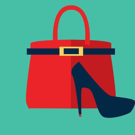 Illustration pour handbag and high heel shoe - image libre de droit