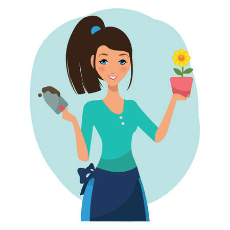woman holding flower potのイラスト素材