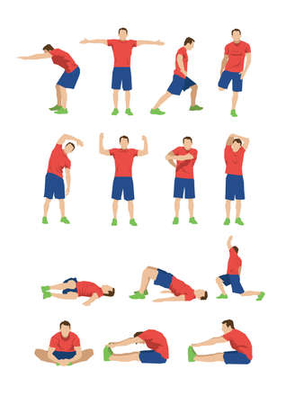 Photo for collection of men doing stretching - Royalty Free Image