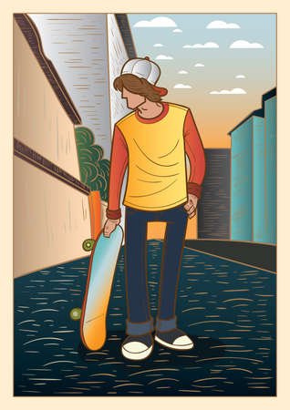 boy holding skateboard
