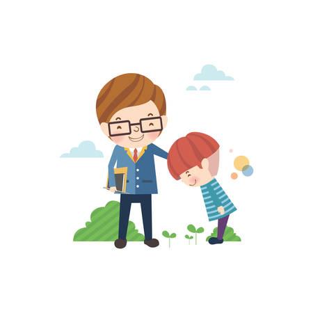 Illustration pour school boy greeting his teacher - image libre de droit