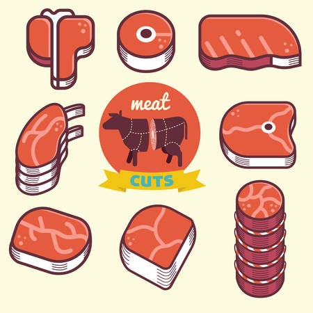 meat cut icons and diagram