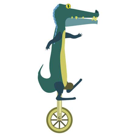 cartoon alligator riding a unicycle