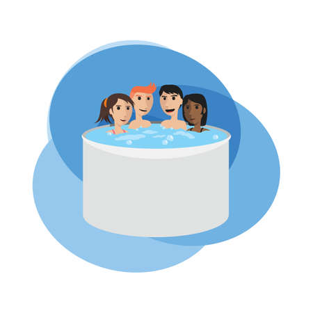 people soaking in a hot tub