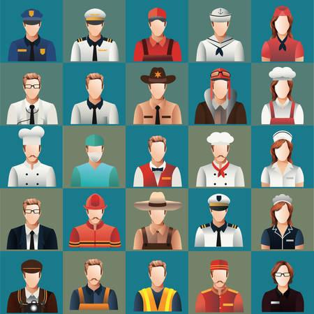Illustration pour collection of people and occupation - image libre de droit