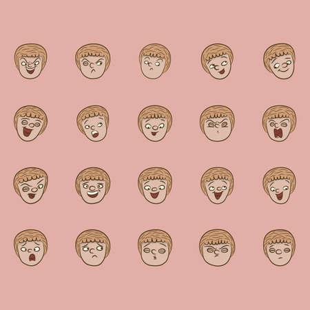 Illustration pour collection of facial expressions - image libre de droit