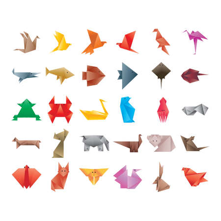 Illustration for collection of origami animals - Royalty Free Image