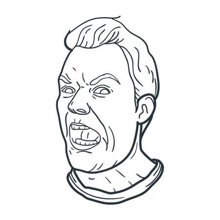 Illustration pour angry man shouting expression - image libre de droit
