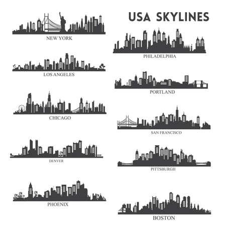 Illustration pour usa skyline silhouette collection - image libre de droit