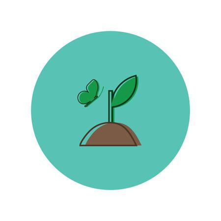 Illustration pour sapling with butterfly - image libre de droit