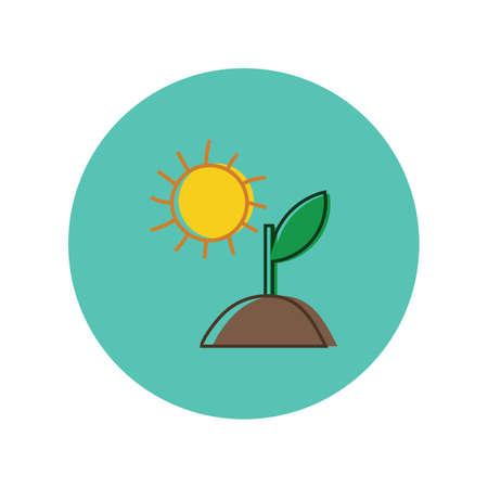 Illustration pour sapling with sun - image libre de droit