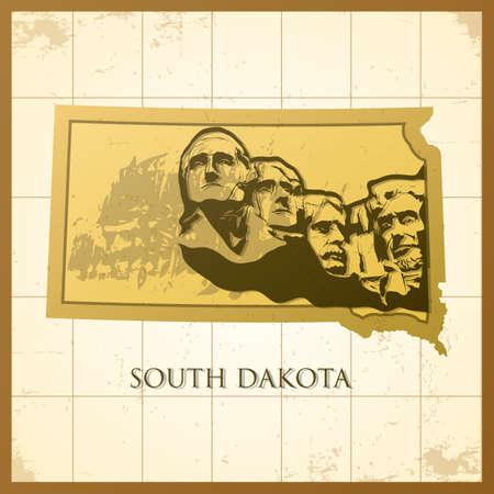 Illustration pour map of south dakota state - image libre de droit