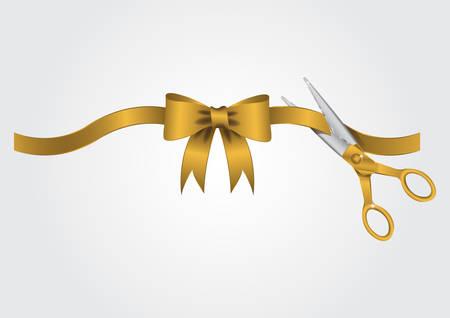 Illustration pour scissors cutting the ribbon - image libre de droit