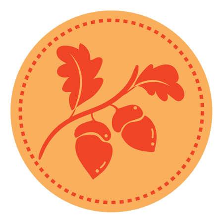 Illustration pour acorns branch - image libre de droit