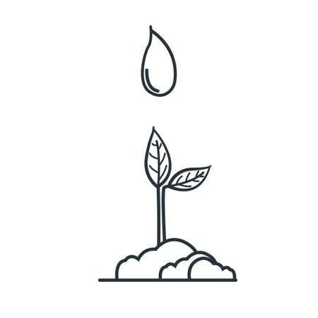 Illustration pour sapling with water drop - image libre de droit