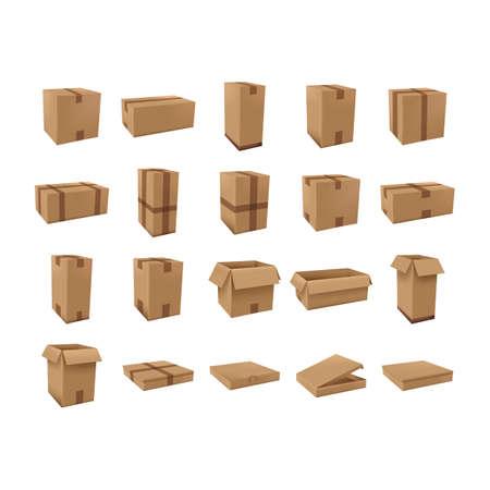 Ilustración de cardboard boxes set - Imagen libre de derechos