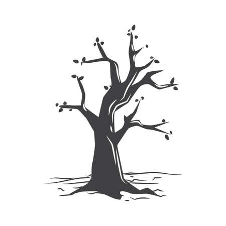 Illustration for almost bare tree - Royalty Free Image
