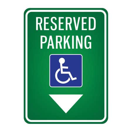 Illustration for parking reserved for handicap signboard - Royalty Free Image