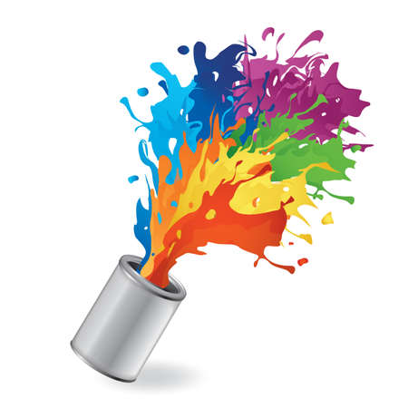 Illustration for bucket with paint splash - Royalty Free Image