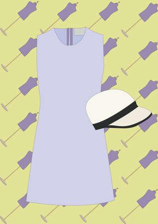 Illustration pour woman dress and hat - image libre de droit