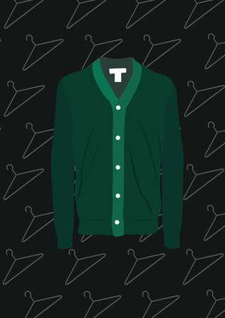 Illustration pour green shirt cardigan - image libre de droit