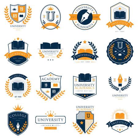Illustration pour set of university logo elements - image libre de droit