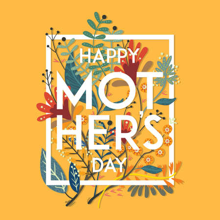 Illustration for floral happy mothers day wishes - Royalty Free Image