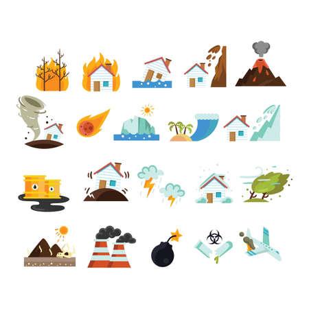Illustration pour Collection of disasters - image libre de droit