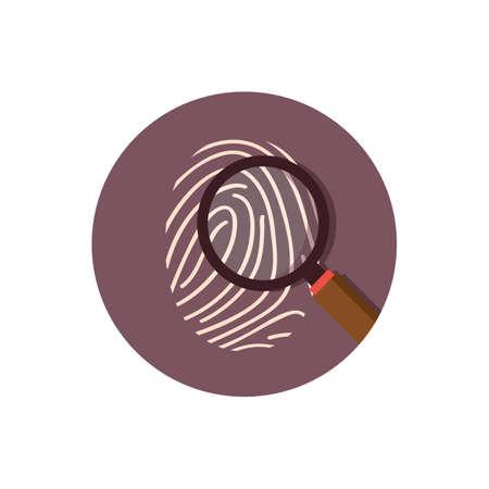 Illustration pour thumb print with magnifying glass - image libre de droit