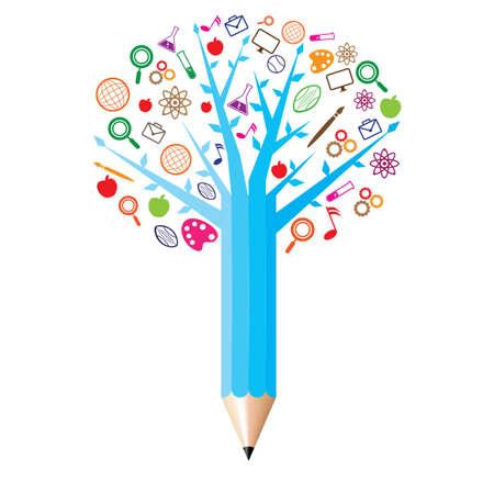 Illustration pour pencil with academic icons concept - image libre de droit