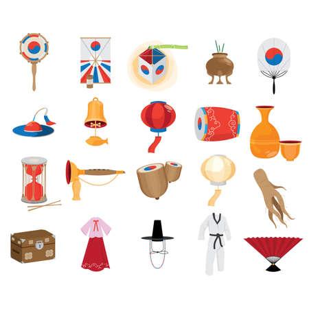 Illustration pour collection of south korean icons - image libre de droit