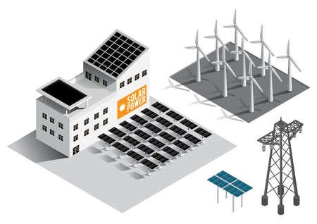 Ilustración de Collection of isometric power generation equipment - Imagen libre de derechos