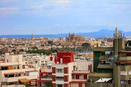 Downtown of Palma de Mallorca with Cathedral, view from Hotel Isla Mallorca, Spain