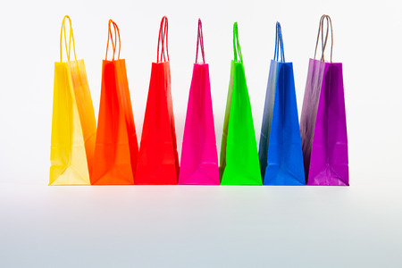 Photo for Set of colorful empty shopping bags isolated on the white background. Sale, consumerism, advertisement and retail concept. Many colorful shopping bags . - Royalty Free Image
