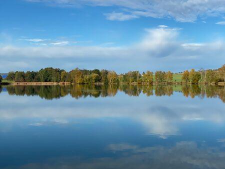 Farm for breeding fish. Morning on the breeding pond. Czech Republic