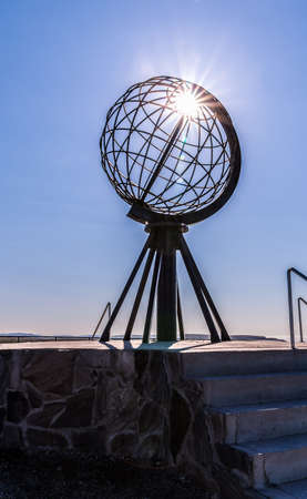 The famous globe monument at North Cape Nordkapp