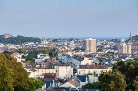 Photo pour View over Saint Helier, capital of Jersey, Channel Islands, UK on summer evening around sunset - image libre de droit