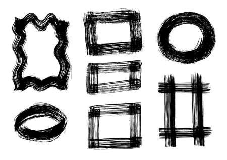 Illustration pour A set of grunge brush strokes. Vector brush stroke illustration EPS 10 - image libre de droit
