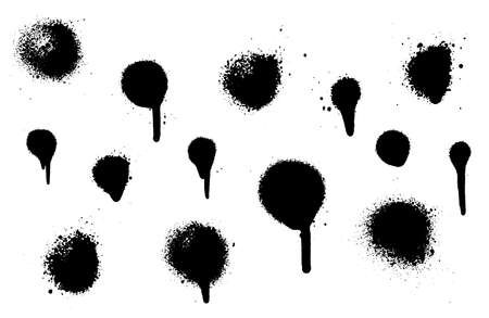 A set of stains with smears made by the spray. Vector illustration. Highly detailed template for background or design.