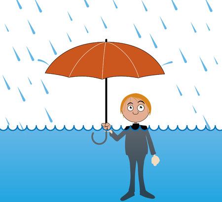 Man under very heavy rain