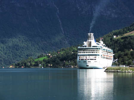Big, luxurious passenger ferry in a Norwegian fjord.
