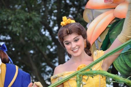 Disneyland Paris, August, 14, 2010 - Cinderella smiling, Once upon a dream  parade at Eurodisney